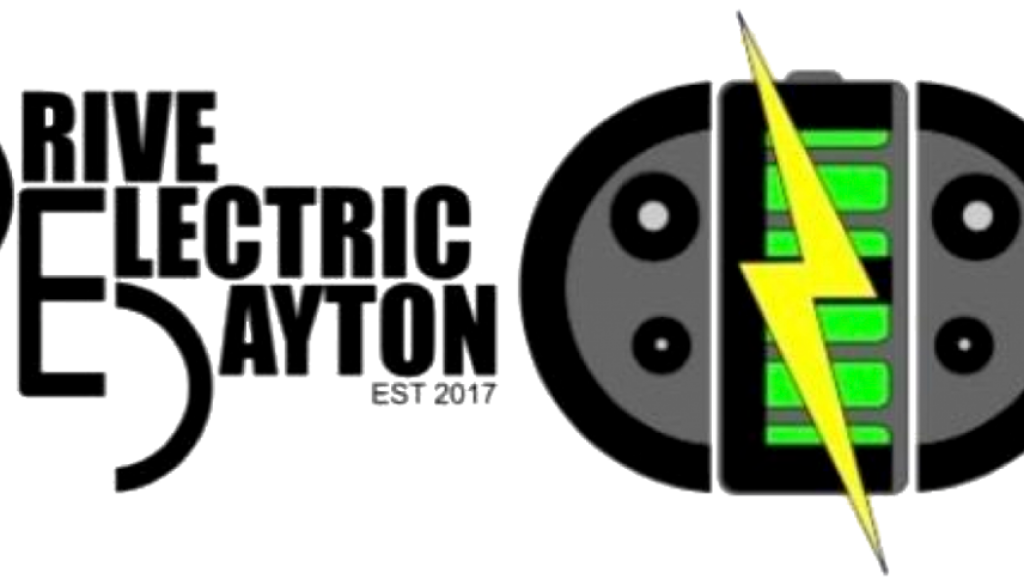 Logo for Drive Electric Dayton, a group for people who own or are interested in electric cars and other EV or electric vehicles in southwest Ohio.